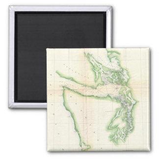 Mapa del vintage del estado de Washington costero Imán De Frigorifico
