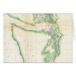 Mapa del vintage del estado de Washington costero  Felicitacion