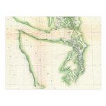 Mapa del vintage del estado de Washington costero  Tarjetas Postales