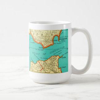 Mapa del vintage del ESTRECHO DE GIBRALTAR la taza