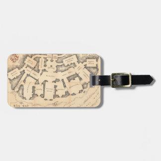 Mapa del vintage del extremo del bolso etiquetas maletas