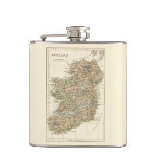 Mapa del vintage del frasco 1862 de la cadera de