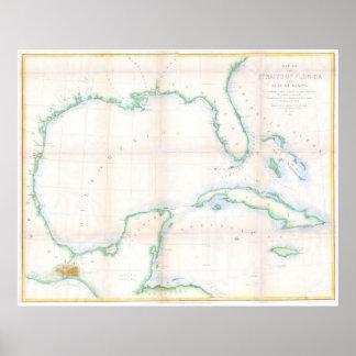 Mapa del vintage del Golfo de México (1852) Póster