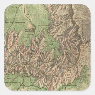 Mapa del vintage del Gran Cañón (1926) Pegatina Cuadrada