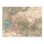 Mapa del vintage del imperio romano (1838) tarjeta postal