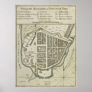 Mapa del vintage del Lower Manhattan (1764) Póster
