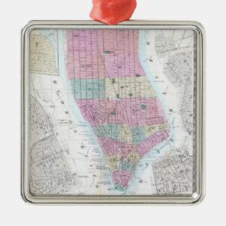 Mapa del vintage del Lower Manhattan (1865) Adorno Navideño Cuadrado De Metal