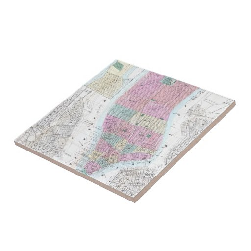 Mapa del vintage del Lower Manhattan (1865) Teja Ceramica