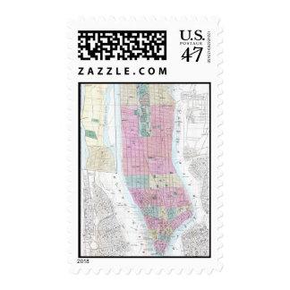 Mapa del vintage del Lower Manhattan (1865) Estampilla