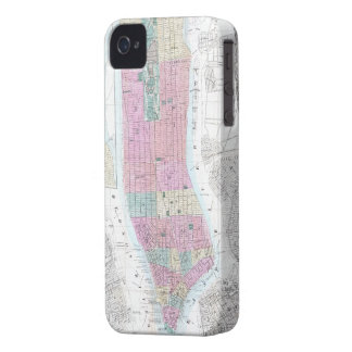 Mapa del vintage del Lower Manhattan (1865) iPhone 4 Case-Mate Cobertura