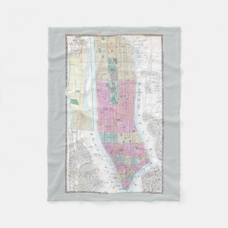 Mapa del vintage del Lower Manhattan (1865) Manta De Forro Polar