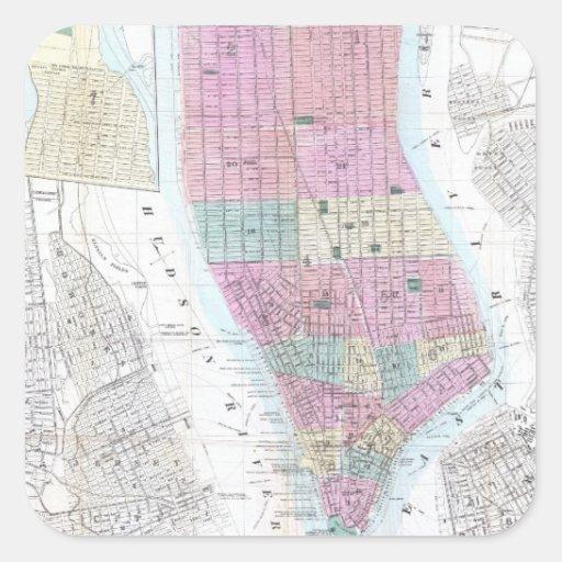 Mapa del vintage del Lower Manhattan (1865) Calcomanía Cuadradase
