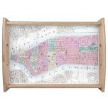 Mapa del vintage del Lower Manhattan (1865) Bandejas