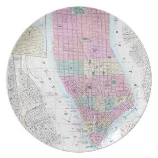 Mapa del vintage del Lower Manhattan (1865) Platos De Comidas