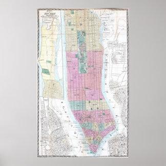 Mapa del vintage del Lower Manhattan (1865) Póster