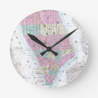 Mapa del vintage del Lower Manhattan (1865) Reloj Redondo Mediano