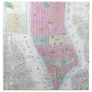 Mapa del vintage del Lower Manhattan (1865) Servilleta