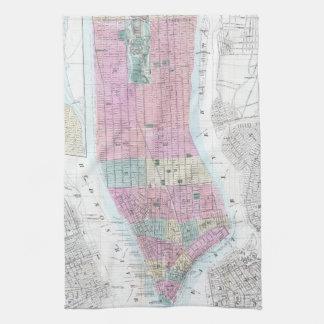 Mapa del vintage del Lower Manhattan (1865) Toallas De Mano