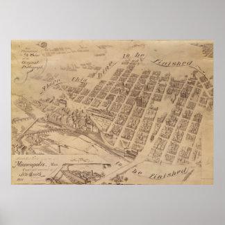Mapa del vintage del manganeso de Minneapolis Póster