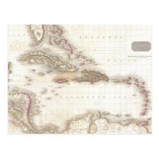 Mapa del vintage del mar del Caribe Tarjeta Postal
