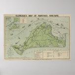 Mapa del vintage del Martha's Vineyard (1913) Posters