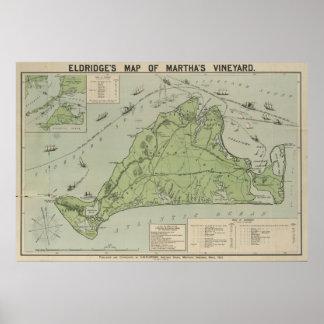 Mapa del vintage del Martha's Vineyard (1913) Póster