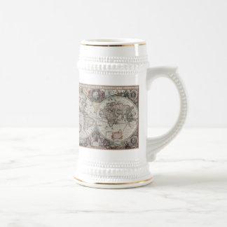 Mapa del vintage del mundo 1630 taza de café