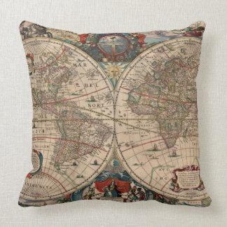Mapa del vintage del mundo 1641 cojin