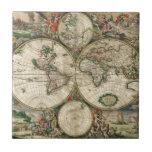 Mapa del vintage del mundo (1689) azulejo ceramica
