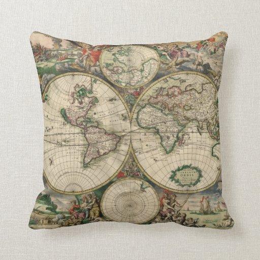 Mapa del vintage del mundo (1689) cojín