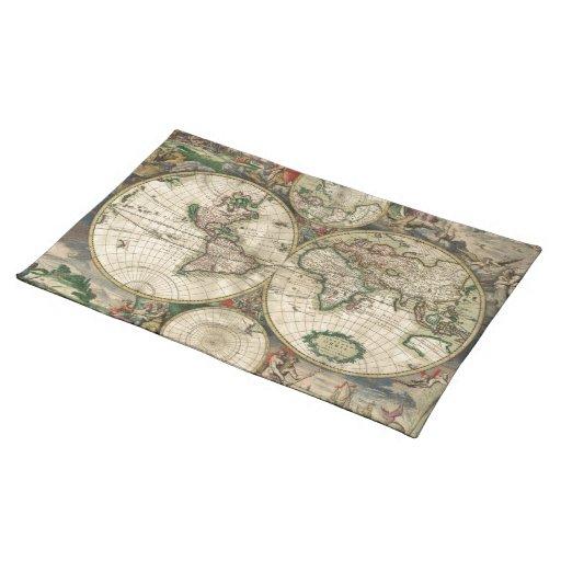 Mapa del vintage del mundo (1689) manteles