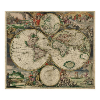 Mapa del vintage del mundo 1689 poster