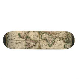 Mapa del vintage del mundo (1689) monopatín