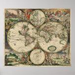 Mapa del vintage del mundo (1689) poster