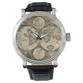 Mapa del vintage del mundo (1689) reloj de mano