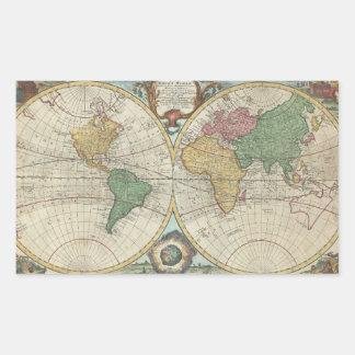 Mapa del vintage del mundo 1744 etiquetas