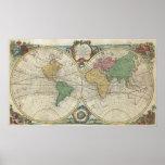 Mapa del vintage del mundo (1744) impresiones
