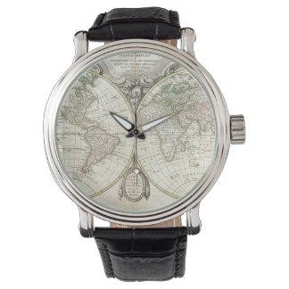 Mapa del vintage del mundo (1775) relojes de mano