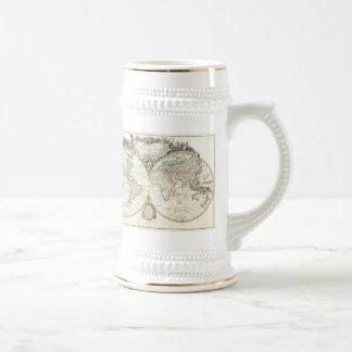 Mapa del vintage del mundo 1775 taza de café