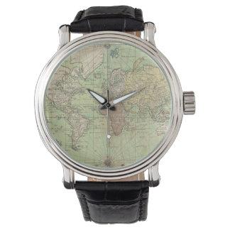 Mapa del vintage del mundo (1778) relojes de mano