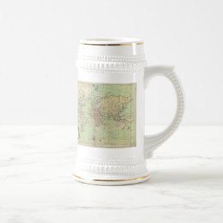 Mapa del vintage del mundo 1778 tazas de café