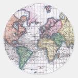 Mapa del vintage del mundo (1780) etiqueta redonda