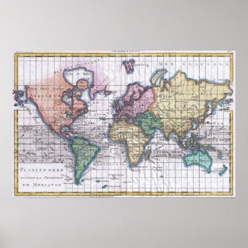 Mapa del vintage del mundo (1780) impresiones