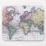 Mapa del vintage del mundo (1780) alfombrillas de ratón