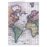 Mapa del vintage del mundo (1780) tarjeta