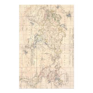Mapa del vintage del mundo (1799) papelería de diseño