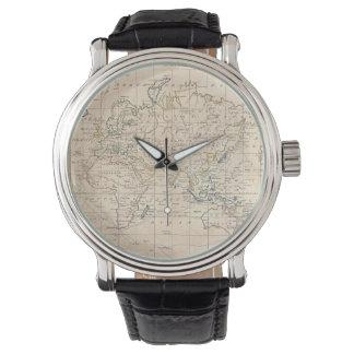 Mapa del vintage del mundo (1799) relojes