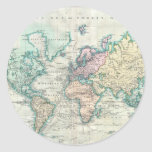 Mapa del vintage del mundo (1801) etiqueta