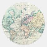 Mapa del vintage del mundo (1801) etiqueta redonda