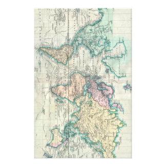 Mapa del vintage del mundo (1801)  papeleria de diseño